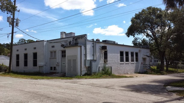Back, north-west corner, back of the cafeteria. Calvary Baptist church is to the right.